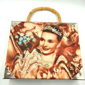 Handbags - Cigar Box Audrey Hepburn Purse Bamboo Handle Latch